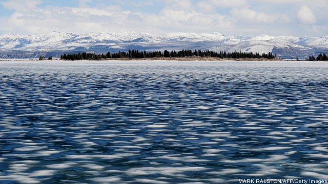 View of the partially frozen Yellowstone
