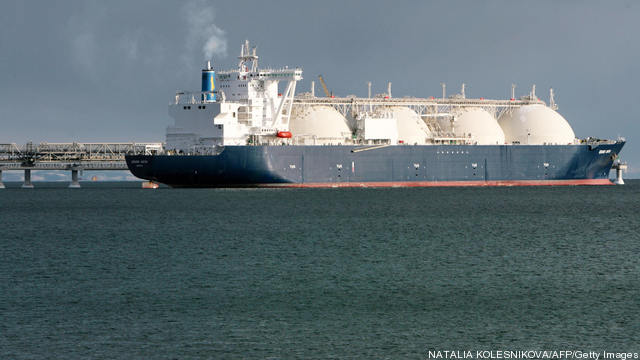 A liquified natural gas (LNG) tanker sit