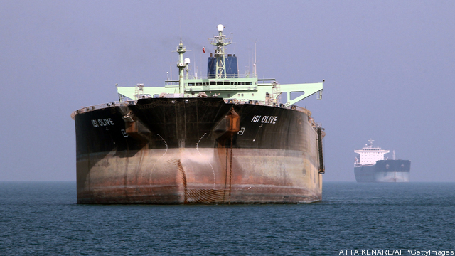 An oil tanker is seen off the port of Ba