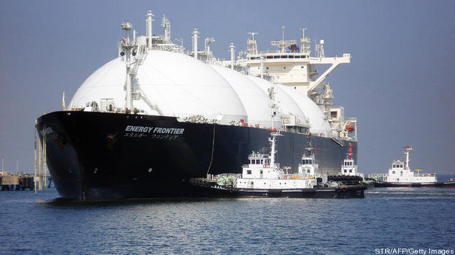 A liquefied natural gas (LNG) tanker arr