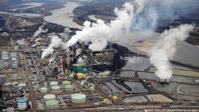 Aerial view of the Suncor oil sands extr