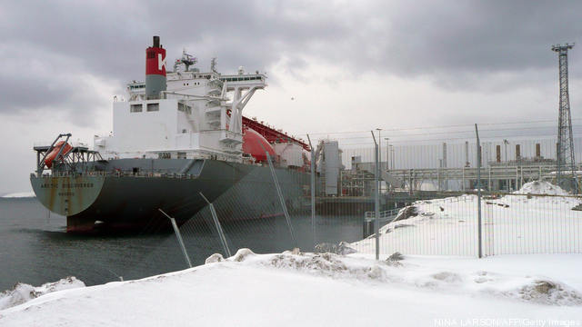 StatoilHydro's Snoehvit tanker used to transport liquefied natural gas from the plant to customers. Photo credit: NINA LARSON/AFP/Getty Images