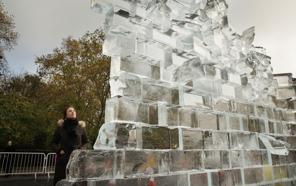 Berlin Wall Ice Sculpture Unveiled In London