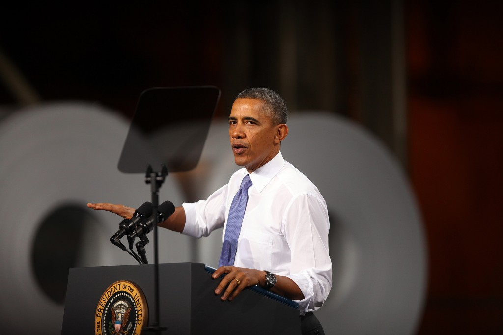 President Obama Gives Economic Address At Steel Manufacturing In Ohio