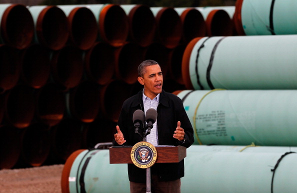 U.S. President Barack Obama speaks at the southern site of the Keystone XL pipeline on March 22, 2012 in Cushing, Oklahoma.  (Photo by Tom Pennington/Getty Images)