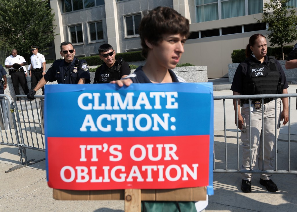 Activists Against The Keystone Pipeline Project Demonstrate At The State Department