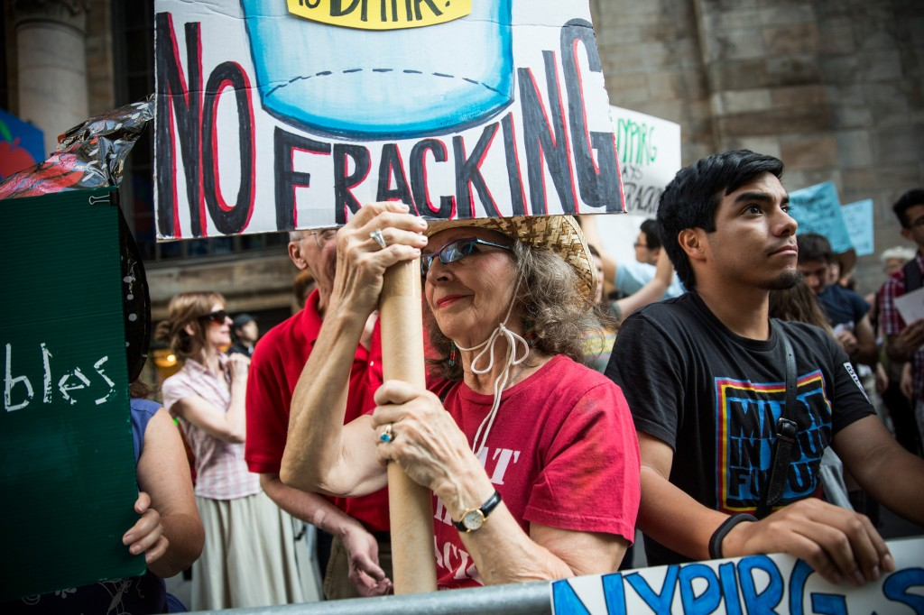 Anti-Fracking Demonstrators Protest Outside Fundraiser For Gov. Cuomo
