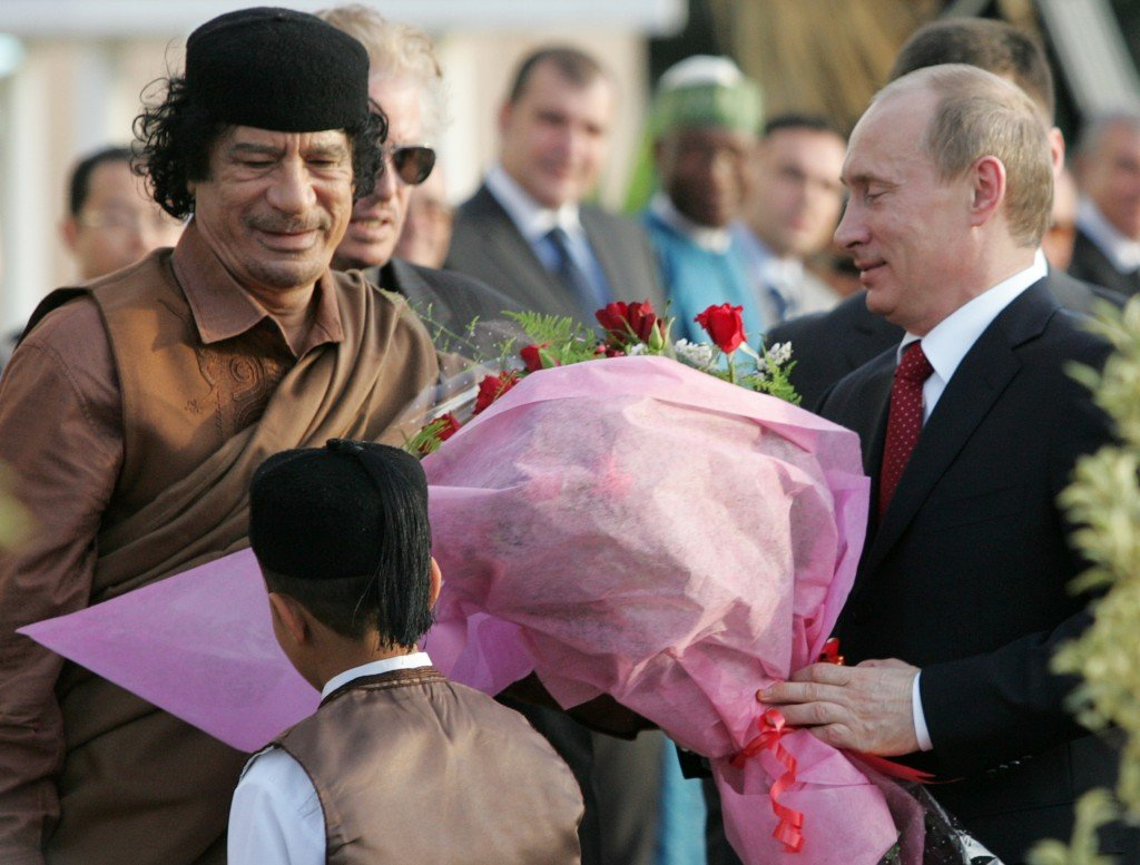 Meeting of Vladimir Putin with Libyan leader Muammar Qadaffi