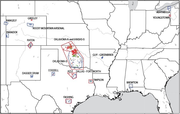 Research has identified 17 areas in the central and eastern United States with increased rates of induced seismicity. Image from U.S. Geological Survey.