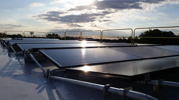 SolarCity says this unique flat-roof system, called ZS Peak, is one of the factors that will drive an increase in its commercial solar business. Photo from SolarCity.
