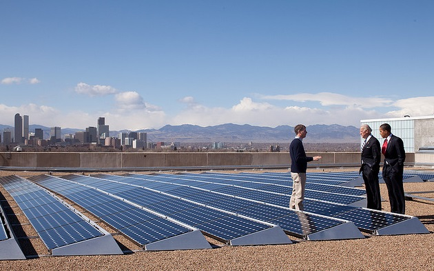 President Barack Obama wth Vice President Joe Biden speaks with CEO of Namaste Solar Electric, Inc., Blake Jones, while looking at solar panels at the Denver Museum of Nature and Science in Denver, Col., Feb. 17, 2009. (Official White House Photo by Pete Souza)